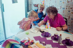 Carl Junction, MO. 6.25.85 (arterial spray) Tags: 1985 35mm 5 5th 80s bcake birthday bithday candles carljunction dalliswillard daradiadianewillard film georgelwillard gracewillard june kodak larwrencewillard missouri mo party rainbowbrite summer