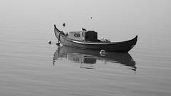 A atmosfera de um sonho... (Hugo Albuquerque) Tags: alcochete barco barcos bruma pretoebranco paisagem sonho boats maré rio riotejo