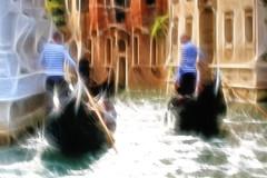 Gondoliers (robin denton) Tags: gondolier gondoliers gondola boat canal people venice venezia fractalius redfield italia italy water waterscape