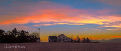Buckley Homestead Sunrise Pano (HikingJoe-Gone too long) Tags: buckleyhomestead lowell indiana farm barn country rural sunrise orange pink morning pano landscape