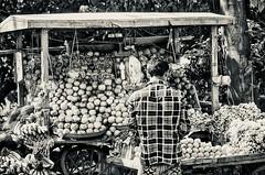 Lines,circles, &squares (Pejasar) Tags: india dark light squares circles lines wheel cart plaidshirt fruit street market man bw blackandwhite