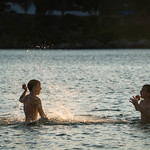 Two Boys Playing in the Water - Batsi, Andros, Greece thumbnail