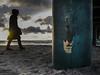 strange encounter (kurtwolf303) Tags: steg person wolken clouds coast face säule water wasser meer ostsee balticsea pillars sonne sun sonnenstrahlen sunrays olympusem1 omd microfourthirds micro43 systemcamera mirrorlesscamera spiegellos mft kurtwolf303 gesicht rost rust germany deutschland fischlanddarszingst sand beach graffito unlimitedphotos wustrow 250v10f topf25 500v20f silhouette topf50 1000v40f topf75 topf100