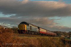 Atlantic sunset (Matt.Evans44871) Tags: elr east lancashire lancs railway steam diesel class 40 40106 atlantic conveyor cfps preservation society 34092 city of wells summerseat bury burrs country park train
