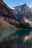 Moraine Lake tranquility; Banff National Park, AB (Image 2) (Martin Thielmann) Tags: ab banffnationalpark morainelake mtlittlebowlenmassif glacialledge goldenlightagainstrockwall lakereflections