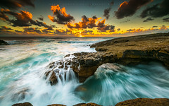 Sea flow (marcolemos71) Tags: seascape sea water waves atlanticocean portuguesecoast rocks flow dynamic slowshutter sky clouds sunset leefilters cascais caboraso rockbridge marcolemos