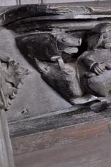 Ripple, Worcestershire, St. Mary's church, stalls, misericords, north side, November:  pig killing, detail (groenling) Tags: ripple worcestershire worcs england britain greatbritain uk gb stmaryschurch stalls wood carving woodcarving misericord month labor calendar man pig ear tail