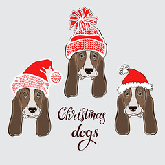 Basset Hound. Vector set of  dog's face in Santa's hat. Three hand-drawn isolated  elements on a gray background.  Dog - animal symbol of new year 2018. (everythingisfivedollar) Tags: bassethound santaclaus hat holiday dog face drawing animal brown white gray wrinkles doggy illustration funny puppy isolated greetingcard humorous sketch canine purebred handdrawn vector set element object red outline contour asian celebrate tradition zodiac cartoon art decoration chinese card symbol calendar 2018 newyear santa winter mustache pug chihuahua