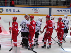 the end of the game (VERUSHKA4) Tags: canon europe russia hockey moscow spartak traktor game november autumn winter sport rink ice player sportsman man competition wintersport end greeting skates hockeystick