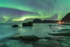 'Uttakleiv Aurora' - Lofoten Islands, Norway (Kristofer Williams) Tags: aurora auroraborealis northernlights night sky stars nightscape landscape seascape beach coast mountains norway lofoten uttakleiv
