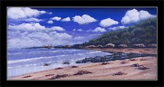 victorian coast acrylic 01 (tsmpaul) Tags: acryclic paint painting brush landscape seascape shorescape clouds sky water sea ocean beach rocks seaweed art