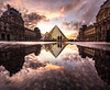 Louvre reflection (magma_dou) Tags: l paris louvre museum capital france pyramid sky reflection mirror couple