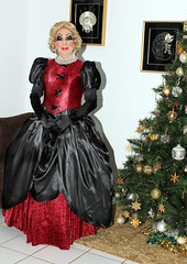 Christmas in a Fantasy Gown (Christine Fantasy) Tags: heavymakeup makeup blonde blouse cd christine crossdresser drag earrings elegant evening fantasy feminine glamour gloves heels jewellery necklace satin sexy shemale silk skirt stiletto stockings suit transsexual transvestite gown