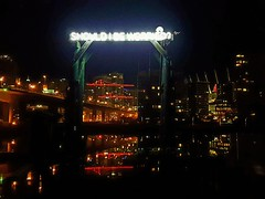 Should I Be Worried? Sign (walneylad) Tags: vancouver britishcolumbia canada downtown falsecreek waterfront seawall water reflections cambiestreetbridge lights dark evening night december fall autumn city urban scenery publicart installation shouldibeworried christmas cranes condos pier 100000 taxmoney neon sign justinlanglois art junk