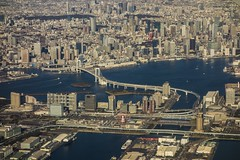 Odaiba from sky (luqingyu) Tags: highway yurikamome fujitv buildings tower roppongi minatoki sumida river blue bay sea rainbow bridge sunny winter city plane sky japan tokyo odaiba