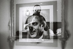 Fellini Self-Portrait Multiple Exposure (goodfella2459) Tags: nikon f4 af nikkor 50mm f14d lens ilford delta 400 35mm blackandwhite film analog multiple exposure experimental abstract federico fellini selfportrait mirror grand hotel rimini italy manilovefilm bwfp