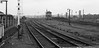 Kettering Northamptonshire 11th June 1977 (loose_grip_99) Tags: kettering northamptonshire eastmidlands england uk railway railroad rail train signal box blackwhite noiretblanc trackscape tracks signalling semaphore trains railways britishrailways midland main line june 1977