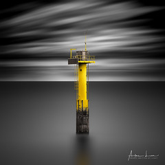 Yellow Transmission Tower (Alec Lux) Tags: bw bnw beach blackandwhite blackandwhitephotography buoy cadzand channel coast coastline entrance harbour landscape landscapephotography longexposure longexposurephotography marine marker nature naturephotography netherlands ocean port scenic sea seascape seascapephotography sky smooth tower transmission water waves yellow zeeland nl