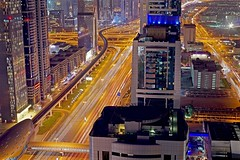 Dubai (michael.gittos) Tags: dubai city night light trails intersection metro skyscraper architecture pentax