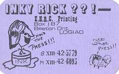 EHRC: Inky Rick - Beeton, Ontario (73sand88s by Cardboard America) Tags: qsl cb cbradio qslcard vintage ehrc ontario artistcard
