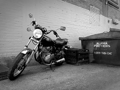 alpha protein (#KPbIM) Tags: 2017 fall november bw motorcycle dumpster alley bike black white