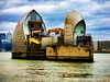 The Faces of the Thames Barrier (Steve Taylor (Photography)) Tags: thamesbarrier thames 8 architecture brown blue green contrast yellow red metal concrete water river texture spring cloud hydraulics barrier floodgate face eyes