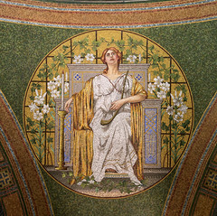 1909 tile mosaic depicting Hope in the Lakewood Memorial Chapel in Minneapolis, Minnesota. The mosaic was designed by the Charles Lamb Studios of New York (thstrand) Tags: 19001909 1908 1909 allegorical allegory american architecturalstyle architecturalstyles architecture arts artwork building buildings builtstructure chapels charleslamb church circle circular classical clothinganddress colorful decorativeart depicting depiction early20thcentury elaborate harp harrywildjones historicsite history hope humanfigures inside interior interiors lakewoodcemetery mn marble memorialchapel minneapolis minnesota mosaicart musicalinstrument nationalregisterofhistoricplaces nobody opulence orante religion religious robe robes round sanctuary structures symbol symbols tessellae tile tiles us usa unitedstatesofamerica visualarts woman women