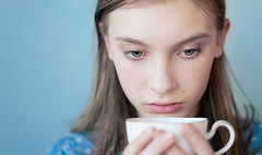 Cup O' Joe (Jason _Ogden) Tags: drinking blue cup coffeebreak drink girl java flickrfriday bluebackground portrait coffee greeneyes cupojoe