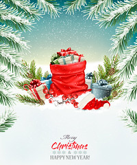 Christmas holiday background with a red sack full presents. Vector. (everythingisfivedollar) Tags: tree greeting hat red new concept sign vector holiday symbol template celebration xmas christmas open card bow gift label snowflake box season sack design color winter merry december banner art background snow party branch nature happy present landscape year ribbon