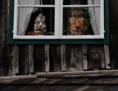window in Hallstatt (4) (SM Tham) Tags: europe austria salzkammergut hallstatt unescoworldheritagesite house building timber wall window panes faces art roof stones clay ceramic ivy plant