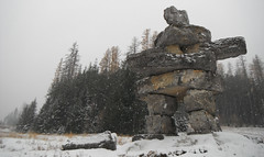 Inukshuk  Stone Cold .... (Mr. Happy Face - Peace :)) Tags: art2017 cans2s canada150 stone snow cottagecountry fernie bc skihill naturelover travel ski trees forest alpines inukshuk