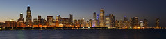 Chicago Skyline Night Panorama (Edit 2) (FFWoodycooks) Tags: illinois john hancock center sears willis tower aon cpd gold star vigil night chicago windy lake michigan