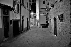 Lonely nights (Milan Korenev) Tags: night street buildings mono bnw blackandwhite dark lamp light window nightfall walk town urban village old architecture