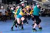 slyth_vs_huff_L3615202 (nocklebeast) Tags: skates rollerderby rollergirls santacruzderbygirls hogwartscup hufflepuff slytherin scottsvalley ca usa