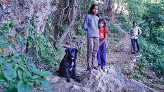Forest Pose (richard_fernando) Tags: pose natural rural villagers people smile colorful green greenery trees jungle wild life nature beautiful dog forest locals kids village kunjpuri neer neerwaterfall uthrakhand
