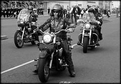RTTW Bikers (* RICHARD M (Over 7 MILLION VIEWS)) Tags: street candid mono blackwhite bikers motorbikes motorcycles motorcyclists wheels leathers helmets crashhelmets hardhats safetyhelmets badges beards bearded beardedbiker whiskers bewhiskered shades sunspecs sunglasses southport sefton merseyside chrome windshields rttw ridetothewall transport riders