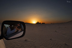 Objects In Mirror Are Closer Than They Appear (Karnevil) Tags: asia unitedarabemirates uae emirate dubai desert dunebashing sand sidemirror toyota landcruiser toyotalandcruiser sunset sun me reflection d610 nikon petekreps