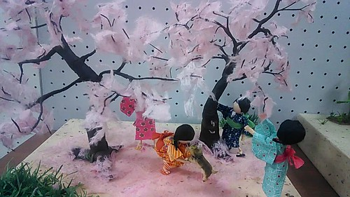 tableau in paper - cherry blossom viewing and fun