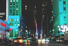 Green Night (R. WB) Tags: new york manhattan avenue street night lights cars usa america big