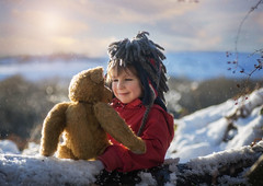December (Windermere Images) Tags: boy teddy snow december christmas winter wales aberdare fun together playtime believe magic trees frost fields countryside love