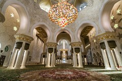 Inside Sheikh Zayed Mosque (Johannes R.) Tags: abu dhabi uae united arab emirates sheikh zayed mosque grand big huge monument building architecture wideangle floor white canon 70d efs stm 1018 mm marble interior inside chandelier carpet hall light illuminated illumination bright