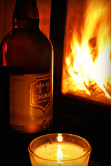 Chimay Cinq Cents (Basse911) Tags: chimaycinqcents beer bier biere cerveza öl olut bottle fireplace candle darknorth novembeer movienight