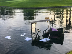 Oh NO (Rob Lee) Tags: golf cart wreck water problem palmdesert
