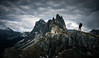 On The Edge (One_Penny) Tags: dolomiten italy dolomites hiking landscape mountains nature outdoor photography canon6d woman girl people sky clouds dramatic seceda valgardena gröden peak summit view scenery stulrich ortisei mountain mountainscape