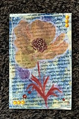 Mixed media Poppy postcard (CraftyBev) Tags: