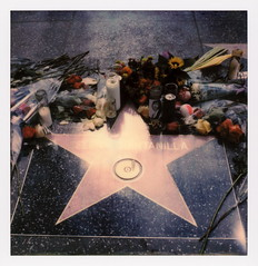 Selena's Star (tobysx70) Tags: polaroid originals color 600 instant film slr680 frankenroid sx70 door rollers selena's star hollywood walk of fame vine street los angeles la california ca selena quintanilla tejano music singer songwriter queen flowers candles toby hancock photography