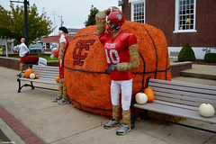 Hometown Team (Jake (Studio 9265)) Tags: hay bale art creative display artwork country rural usa united states america todd county ky kentucky fall outdoor photography 2017 october hometown team basketball sports football helment people town square bench