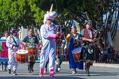 Marching Band? (Kevin MG) Tags: pasadena pasadenadoodah doodahparade parade costume unicorn drummer drum bagpipes band marching