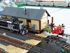 Santa Fe Riverside Freight Depot (Engineering with ABS) Tags: lego santafe railroad train riverside freightdepot levelcrossing california