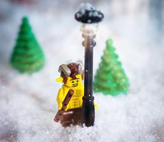 Faun (minifigphoto) Tags: lego legophotography legoart miniatureart miniaturephoto minifigs cute kawaii minifigure legoaddict legoaddiction legolove legofun upclose macro toyphotography lovephotography geek toyphotographers christmas snow faun flute pan lamppost